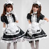 Sexy French Maid Costume Sweet Gothic Lolita Dress Anime Cosplay Sissy Lock Zip Maid Uniform Plus