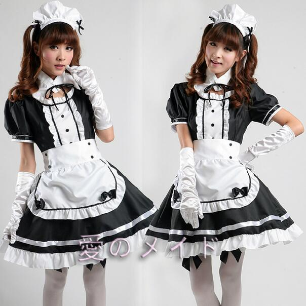 Sexy French Maid Costume Sweet Gothic Lolita Dress Anime Cosplay Sissy Lock Zip Maid Uniform Plus Size Halloween Costumes Women