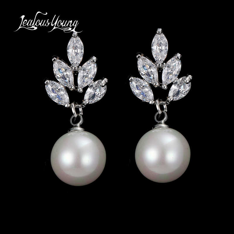 Elegant Women Round Simulated Pearl Earrings For Bridal Marquise Zircon Drop Earings Woman Best Gift AE507