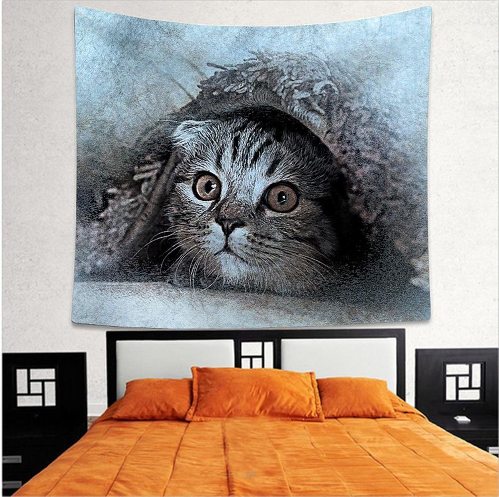 3d Creativo Freddo Serie Gatti Modello In Poliestere Arazzo Animale Stampato Appeso A Parete Murale Gobelin Soggiorno Complementi Arredo Casa