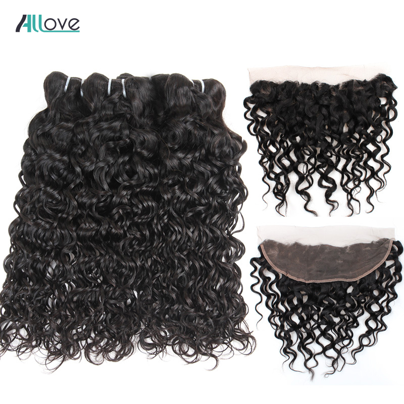 Allove Brazilian Water Wave Ear To Ear Lace Frontal Closure With Bundles 100 Remy Human Hair