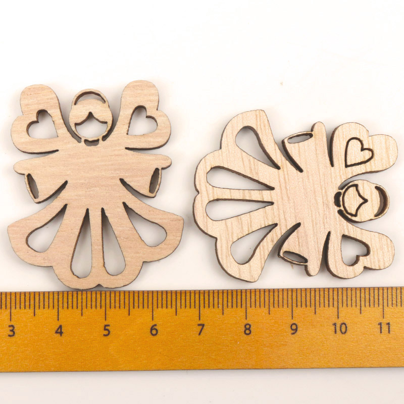 Mix Wooden Angel Pattern Scrapbooking Painting Collection Craft Handmade  Accessory Home Decoration DIY 44-48mm 10pcs MZ190