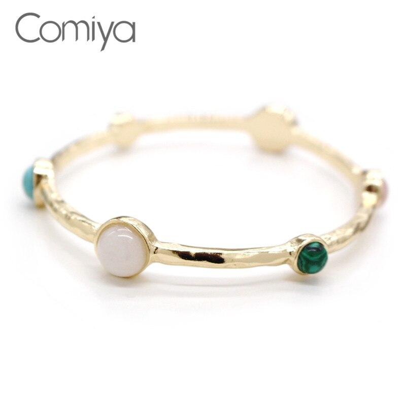 Comiya natural stone pendants colorful golden plated bracelets & bangles gold bangle online shopping india pulseira feminina bangle