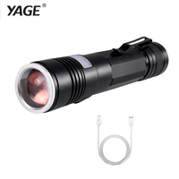 YAGE YG 337C T6 2000LM Aluminum Zoomable 5 Modes CREE LED USB Clip Flashlight Torch Light