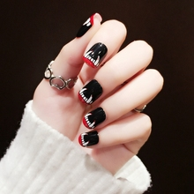 Buy halloween false nails and get free shipping on aliexpress 2017 new fashion 24pcs black short false nails acrylic nail art tips sharp teeth halloween style prinsesfo Image collections