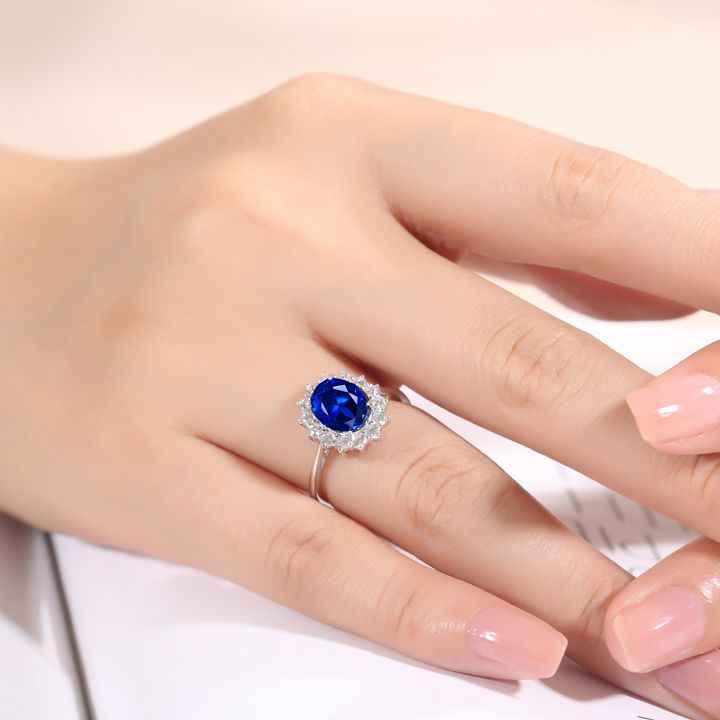Jóias Da Moda clássico Puro 100% 925 Sterling Silver oval Cut azul 5A Zircônia CZ Anel de Banda De Casamento Das Mulheres Do Partido Da Princesa presente