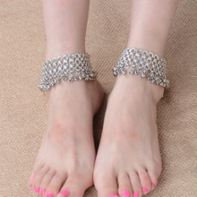 1 предмет Многослойные Серебряные Колокольчики с бахромой; босоножки, браслеты на ногу для Для женщин в этническом стиле лодыжки ног браслет Cheville пляжные ювелирных изделий Индии