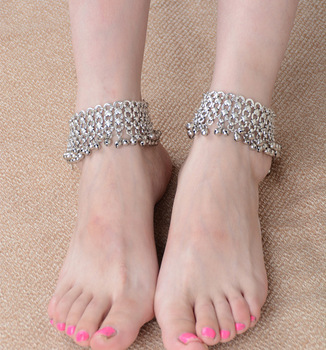 1 PC Multilayers Silver Bells Tassel Barefoot Sandals