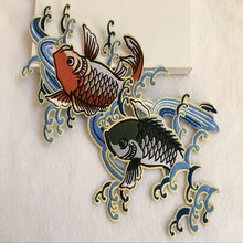 New 5Pcs/Lot Large Two Fish Embroidery Patch Applique Fabric Stick Iron On Clothing Bag T-Shirt Decorate Accessroy Diy 29.5*17CM