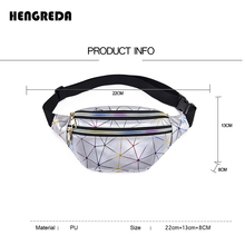 Hengreda Holographic Waist Bags Women Pink Silver Fanny Pack Female Belt Bag Black Geometric Waist Packs Laser Chest Phone Pouch