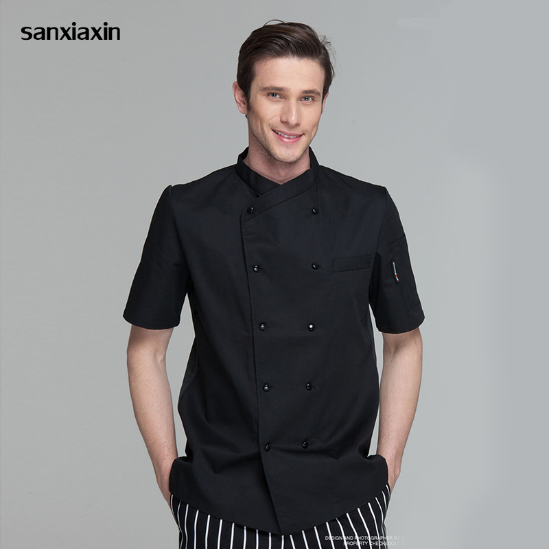 New Unisex Restaurant Uniform Stand Collar Single Breasted Breathable Short Sleeve Casual Restaurant Cook Wear Catering Uniforms
