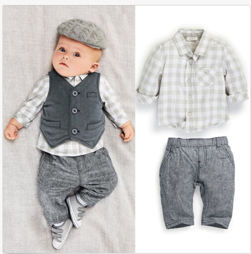 666b852d7 2016 Newborn Baby Kids Boys Plaid Shirt Tops+Pants+Waistcoat ...