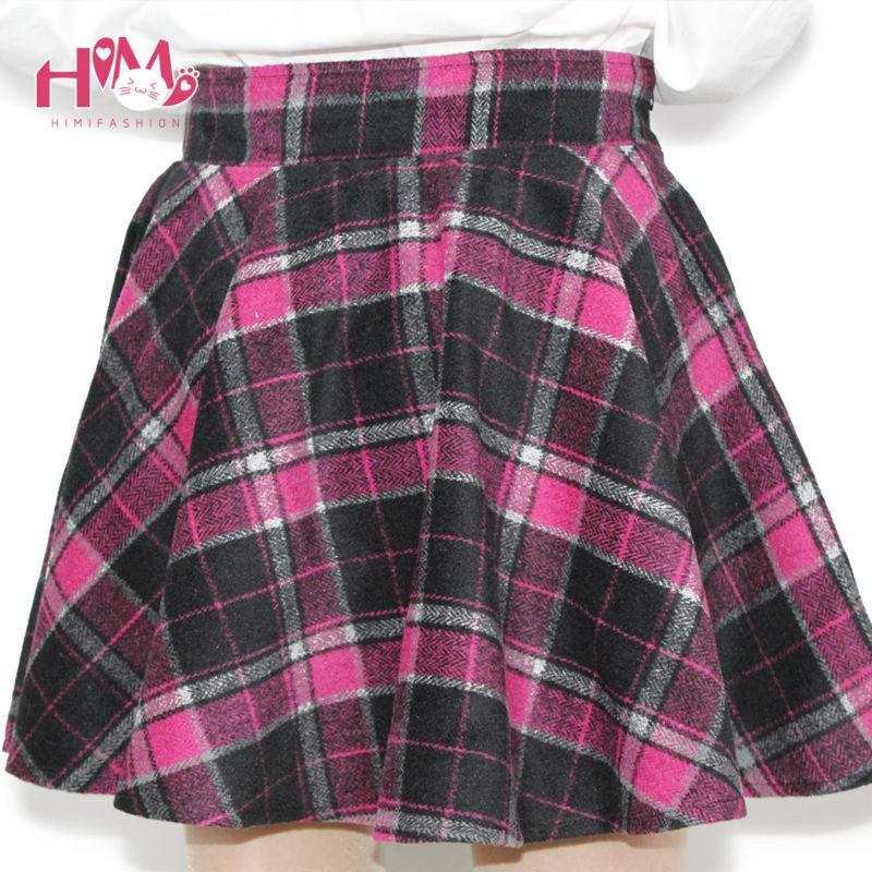 Womens Winter Woolen Skirt Party High Waist College Style Lattice Tutu skirt With Lining 5 Colors Pleated Plaid Skirt For Lady (7)