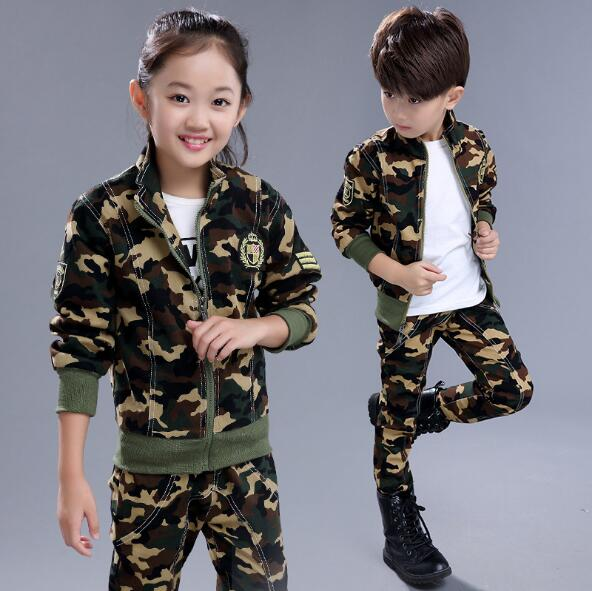 Children Camouflage Clothing Set 2017 Spring Autumn Boys Girls Fashion Tracksuit Cotton Military Uniform Kids Sport Suit 2 Pcs