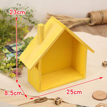 Modern Wooden House Storage Rack Mini Flower Toys Wall Shelf Home Decor(China)