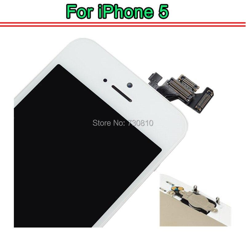 imágenes para Calidad AAA Sin Pantalla de Píxeles Muertos De iPhone 5 5G 5C Pantalla LCD con el digitizador Assembly + cámara Frontal + Home botón