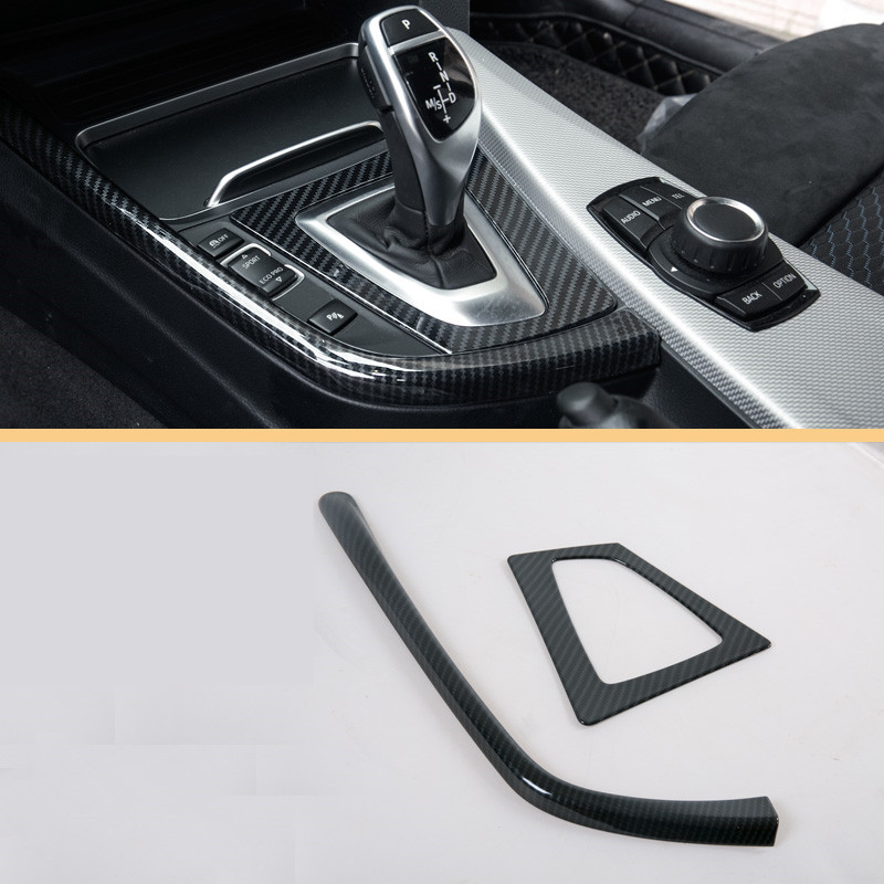 2PCS Carbon Fibre LHD Stainless Steel Gear Decorative Strip Trim for BMW F30 3 Series 3GT