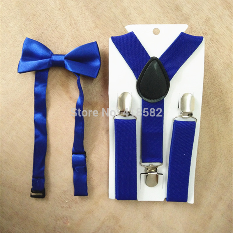 LB001-S Size Royalblue Color Suspender And Bowtie Sets For Baby Adjustable  3 Clips 4 Clips Braces Bow Tie Sets Free Shipping