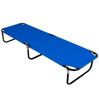 Folding Bed Outdoor Deck Camping Sun Lounger Beach Chair Bed Office Easy Carry Strong Metal Legs