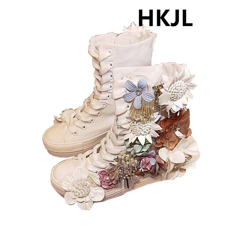 Nouvelles chaussures de toile coréenne à talons hauts travail lourd strass couleur douce en trois dimensions fleur sequin chaussures en tissu