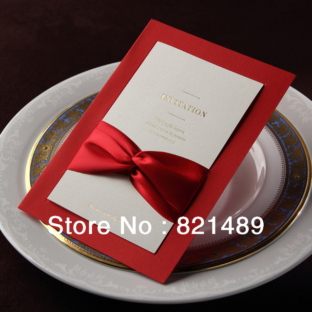 Red Wedding Invitation Cards With Ribbon,Free Design Printing Cards, DIY  Invitation Cards