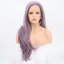 Bombshell Light Lavender Purple Natural Wave Synthetic Lace Front Wig  Glueless