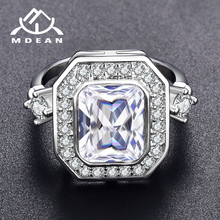 MDEAN Noble blanco oro Color anillos de compromiso para las mujeres claro AAA Zircon moda joyería Bague Bijoux tamaño 6 7 8 H835