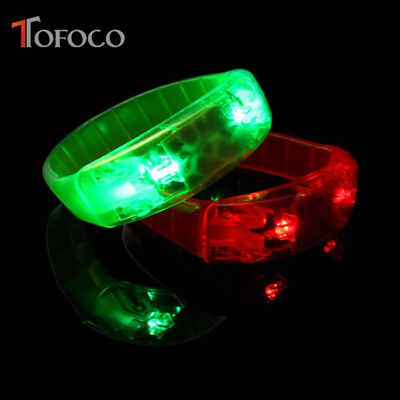 TOFOCO Led Sound Activated Flashing Bracelet Wristband Toy Bangle Glowing In The Dark Blinking Toys For Kids Party Festival