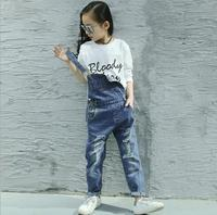 Spring Autumn 2018 Toddler Girls Denim Overalls For Girls Jumpsuits Romper Trousers Kids Baby Cotton Dungarees Jeans Holes 4 17T