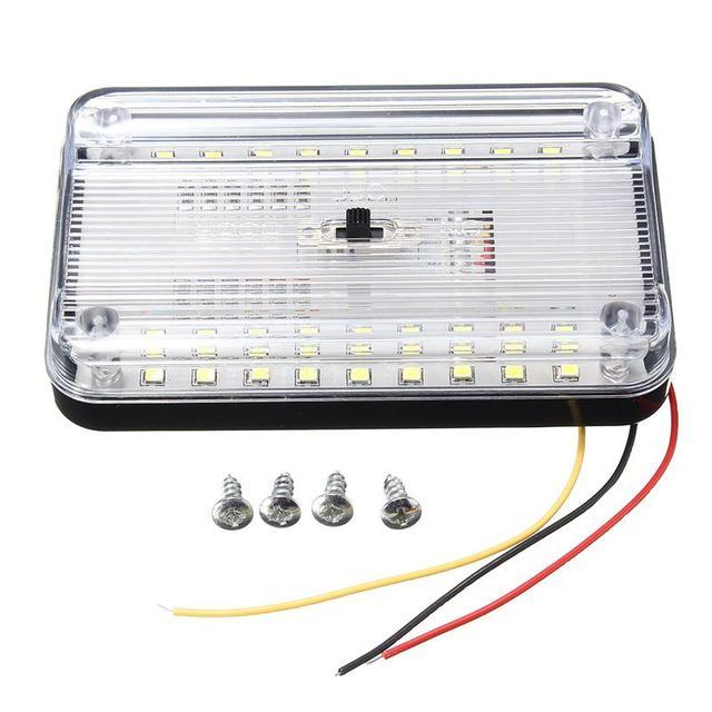 Luz de techo Interior ABS para coche, lámpara de techo blanca para barco casa rodante marino de 12V, accesorios, 36LED