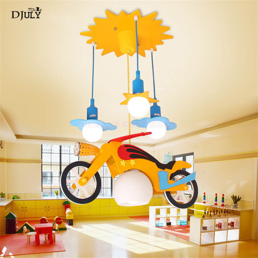 creative cartoon motorcycle shape glass pendant lights for living room kids bedroom hanging lamp Playground led light fixtures