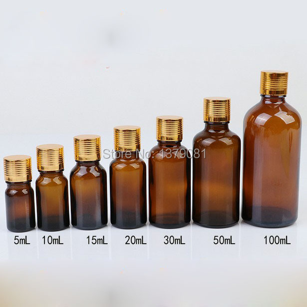 5ml,10ml,15ml,20ml,30ml,50ml,100ml Amber Glass Bottle With Gold Screw Cap,Essential Oil Bottle  DIY Sample Vial Free shipping fcl wholesale 5 10 15 20 30 50 100ml empty blue glass essential oil bottle without cap