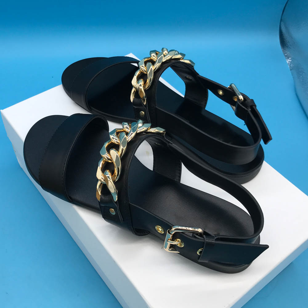 Kathlyn De Femmes Cuir black Réel Chaîne Chaussures En Appartements Sandales Or Sandale Wong Matte D'été Patent Vache Black rFIwYr