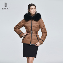 Basic Editions Women Winter Short Slim Fit Belt Coat with Fur Brown Fashion White Duck Down Jacket – 13W-65