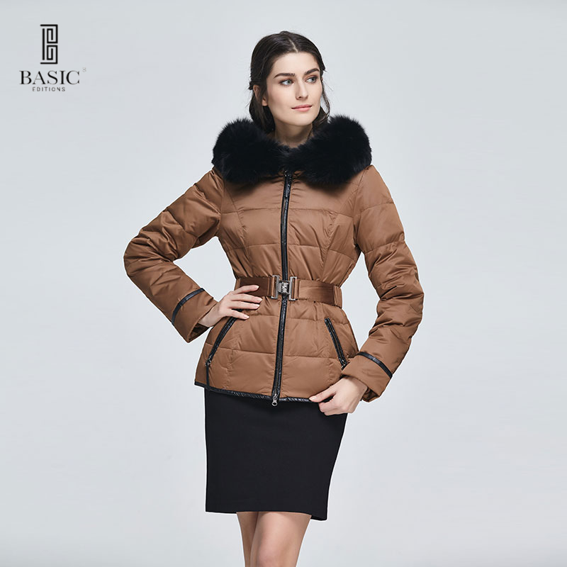 Basic Editions Women Winter Short Slim Fit Belt Coat with Genuine Fox Fur Brown Fashion White Duck Down Jacket - 13W-65
