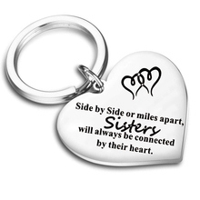 New Fashion Friendship Keyring Lettering Best Friends Stainless Steel Heart Pendants Keychain for Friend Sisters Jewelry Gift