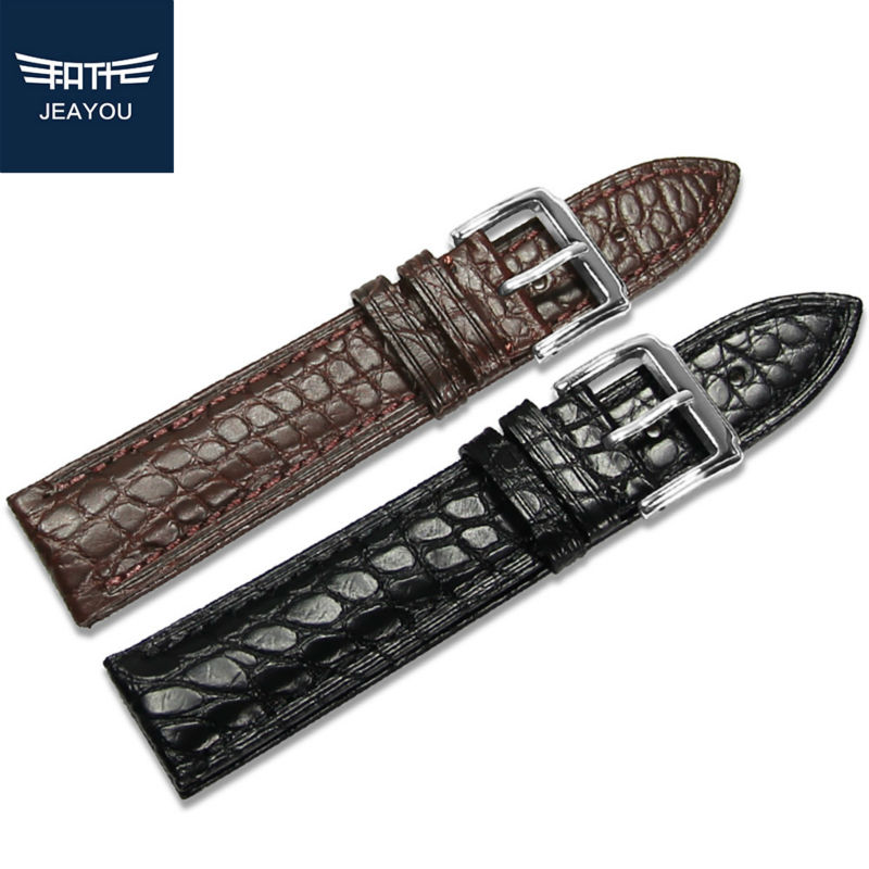 JEAYOU Men High Quality Watch Strap Real Alligator For Mido/Omega/IWC With Pin Buckle18/19/20/21/22mm