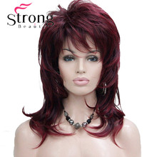 StrongBeauty Long Soft Shaggy Layered Wine Red Ombre Classic Cap Full Synthetic Wig Women's Wigs
