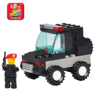 Candice guo plastic toy building block assemble car model game mini police motor vehicle educational baby birthday gift present