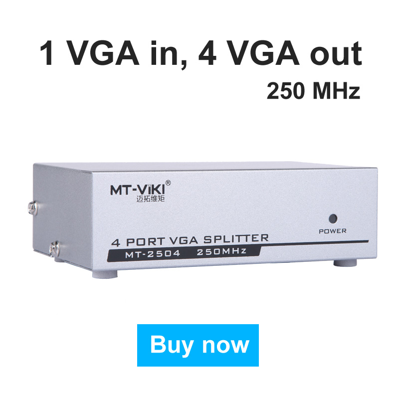 MT-VIKI VGA Video Splitter Distributor 1 input to 4 Output 1 PC computer host connects 4 Monitors MT-2504