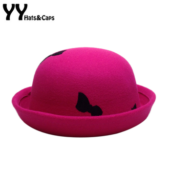 2016 Winter Vintage Fedoras For Kids Round Trilby Hat Cute Embroidery Bow Bucket Caps Chapeu Sombrero felt Hats Bowler  YY60539