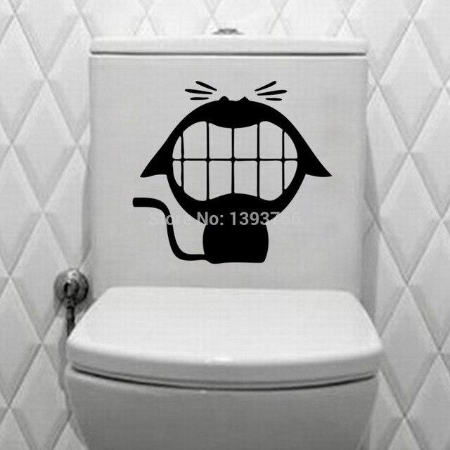Schönen Großen Mund Lächeln Katze Wc Aufkleber Badezimmer ...