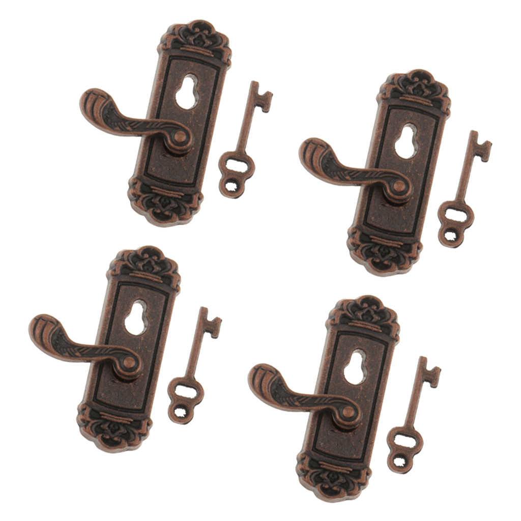 4 шт. 1:12 винтажная металлическая дверная ручка с кнопками кукольный домик миниатюрная Сделай Сам сцена правая ручка с клавишами игрушка для ролевых игр