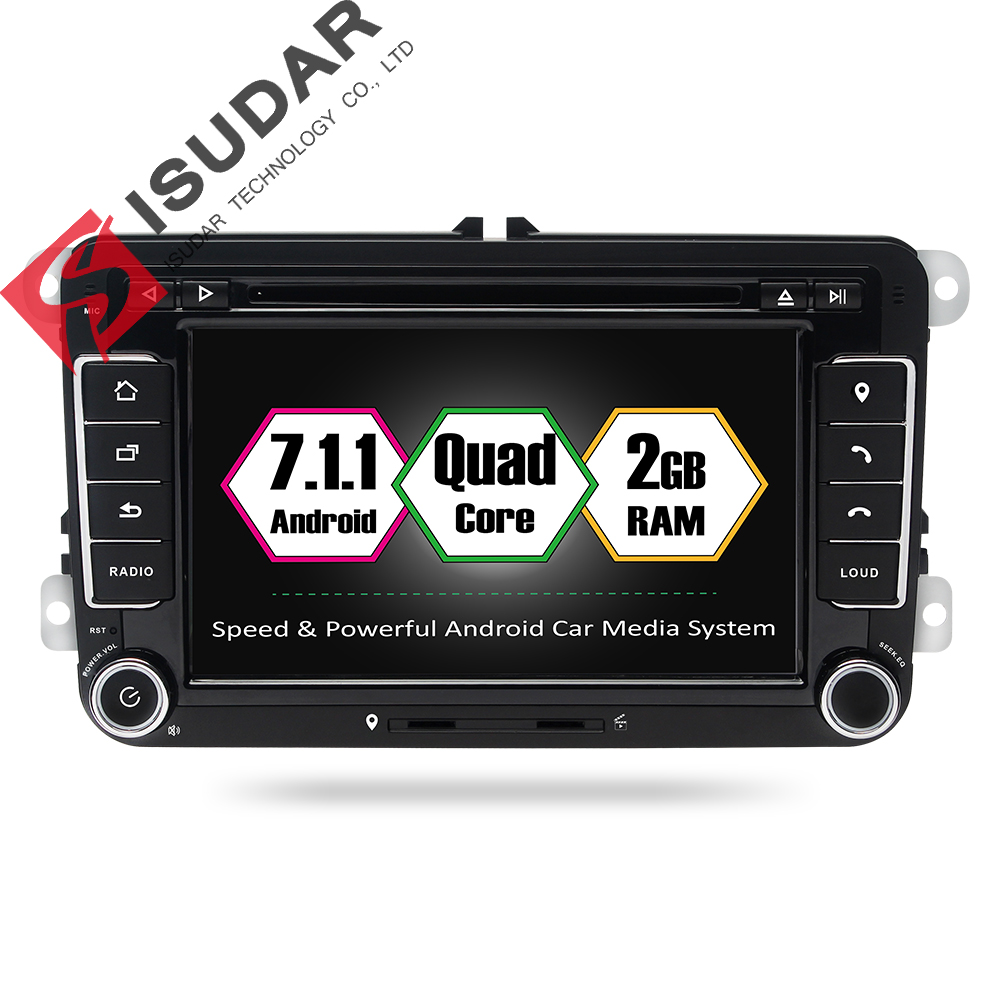 Isudar Car Multimedia Player GPS Android 7.1.1 2 Din Car Radio DVR For Volkswagen/VW/POLO/PASSAT/Golf/Skoda/Octavia/Seat/Leon