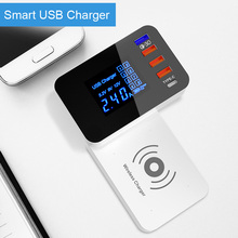 QI Wireless Charger Quick Charge 3.0 Smart USB Type C Charger Station Led Display Fast Charging Power Adapter Desktop Charger