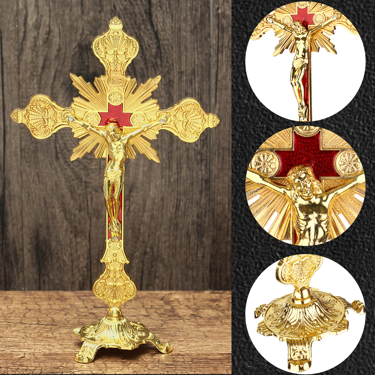 Golde Church Relics Figurines Crucifix Jesus Christ On The Stand Cross Wall Crucifix Antique Home Chapel Decoration Wall