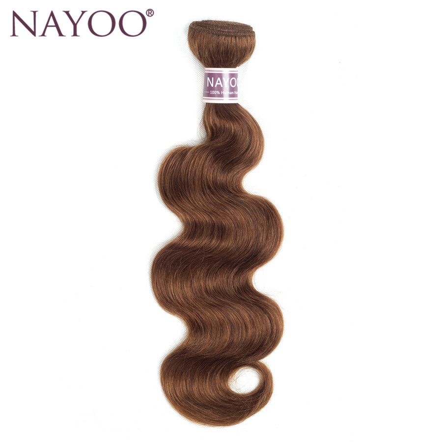 NAYOO Color #4 Brazilian Body Wave Hair Bundles Non-Remy Human Hair Light Brown 1PC No Tangle 10-24 Can Buy 3 or 4 Bundle