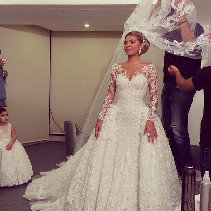 DZW536 2019 V-neck mermaid Long Sleeve Wedding Dresses Lace detachable train Wedding Gown Bridal Dresses  vestido de novia