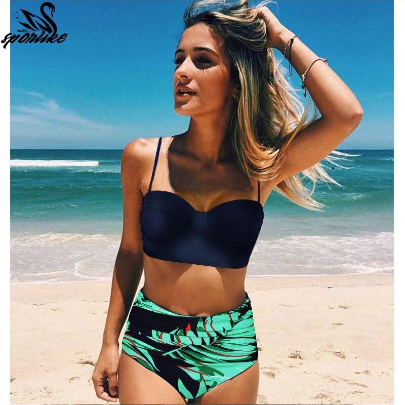 39b9e57f4e High Waist Swimsuit Push Up Swimwear Beach Wear Women Bandage Top Female  Bathing
