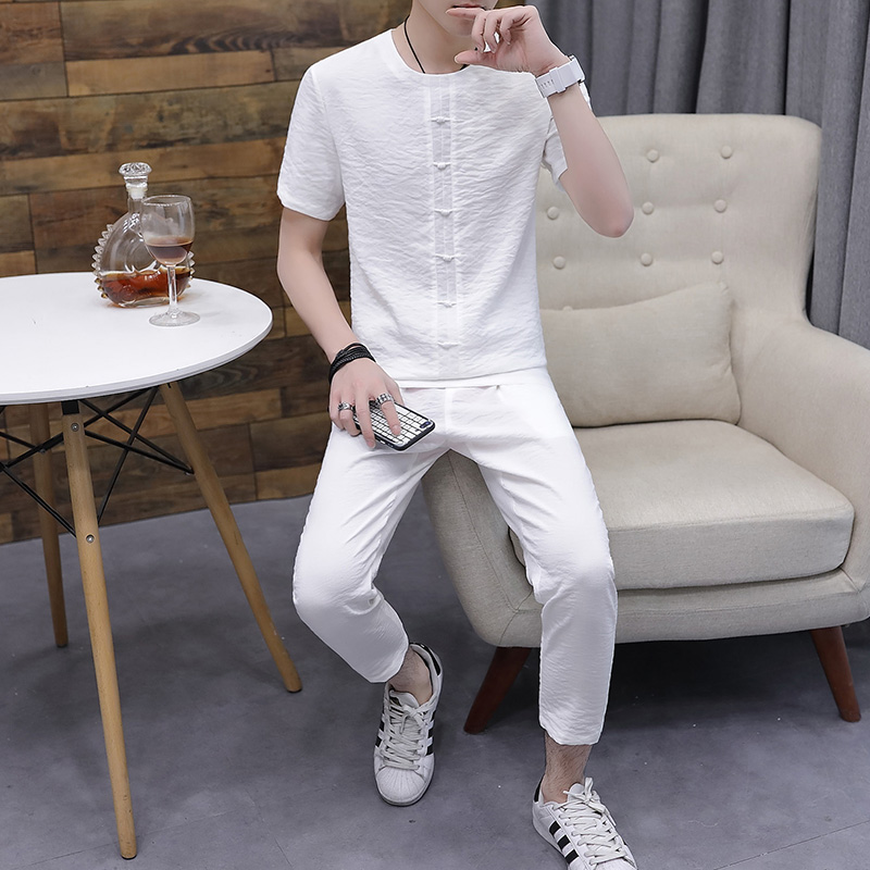 Men's Pajamas summer short Sleeve Cotton  Pyjamas Trousers Linen sleepwear thin Men's Sleep Lounge Pajama Set